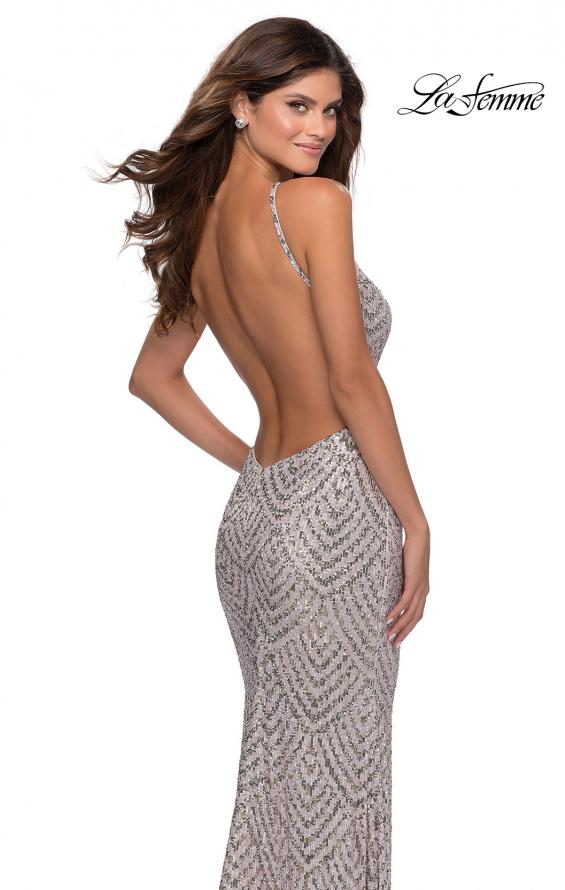 Picture of: Sequin Patterned Gown with Pyramid Neckline in Mauve, Style: 28625, Detail Picture 2