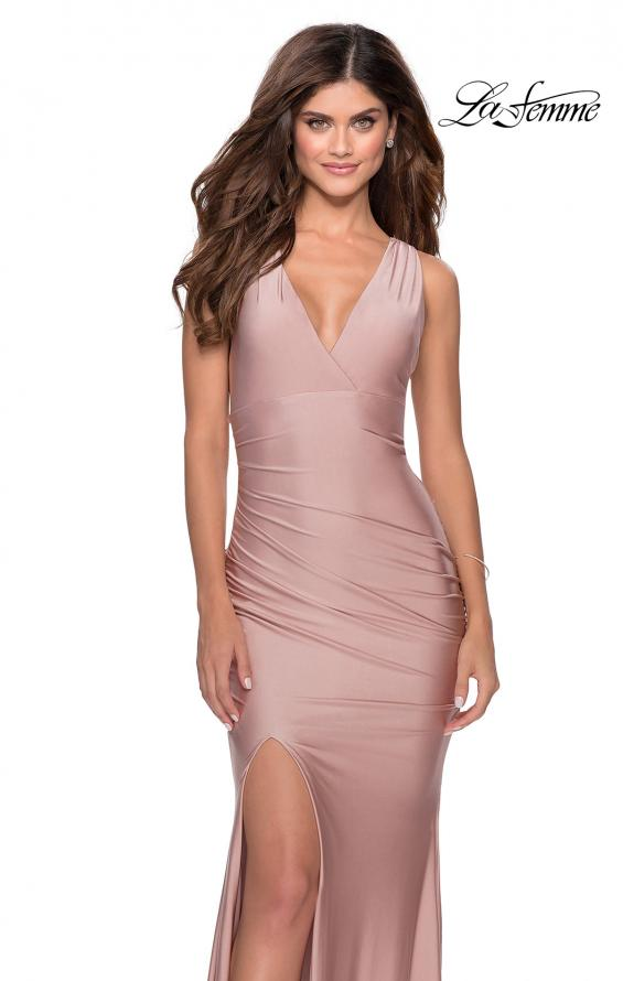 Picture of: Sleek Prom Dress with Deep V-Neckline and Tie Back in Mauve, Style: 28677, Detail Picture 2