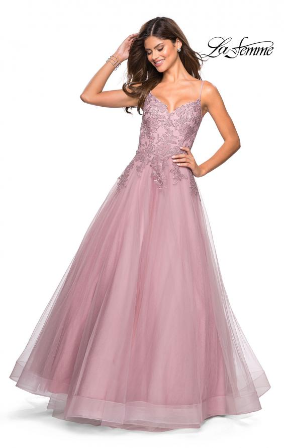 Picture of: Tulle Prom Gown with Floral Lace Embellishments, Style: 27569, Detail Picture 3