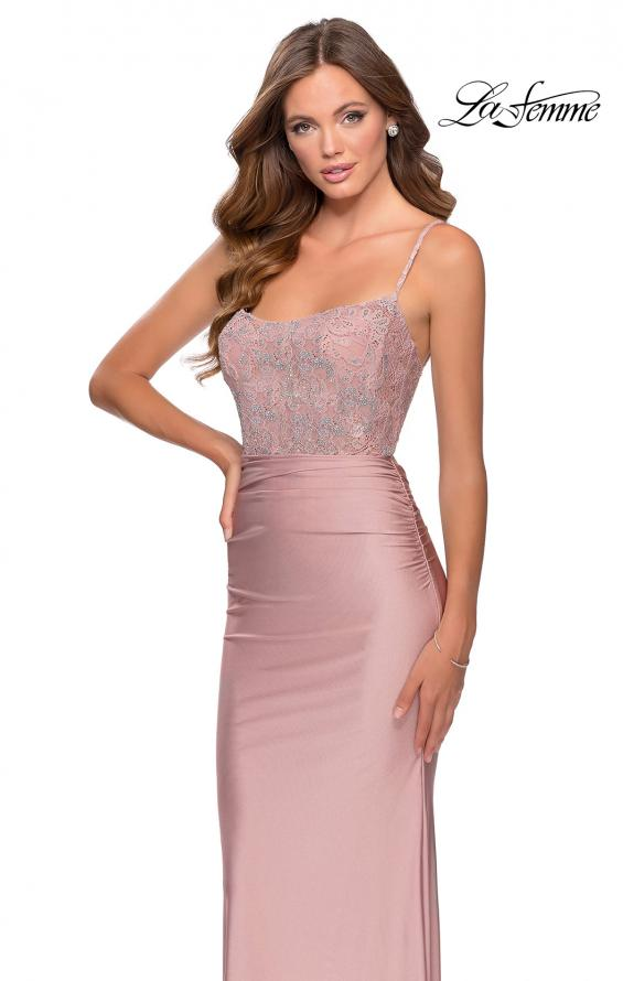 Picture of: Jersey Prom Dress with Lace Bodice and Rhinestones in Mauve, Style: 28558, Detail Picture 3