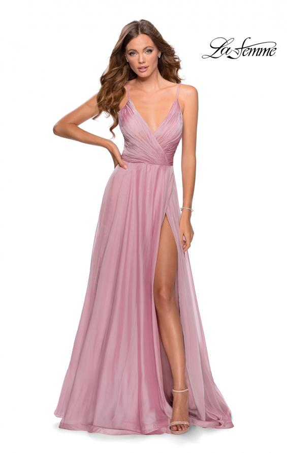 Picture of: Chiffon Prom Dress with Pleated Bodice and Pockets in Mauve, Style: 28611, Detail Picture 3