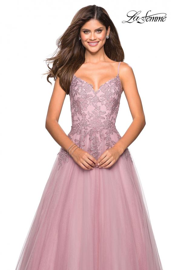 Picture of: Tulle Prom Gown with Floral Lace Embellishments, Style: 27569, Detail Picture 4