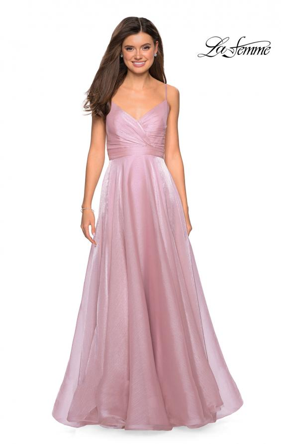 Picture of: Long Metallic Chiffon Dress with Ruching and V Back, Style: 27616, Detail Picture 4