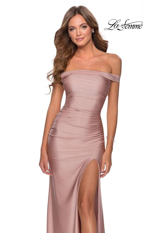 Picture of: Off the Shoulder Prom Dress with Tie Back and Slit in Mauve, Style: 28506, Detail Picture 4