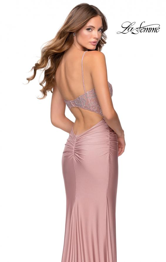 Picture of: Jersey Prom Dress with Lace Bodice and Rhinestones in Mauve, Style: 28558, Detail Picture 4