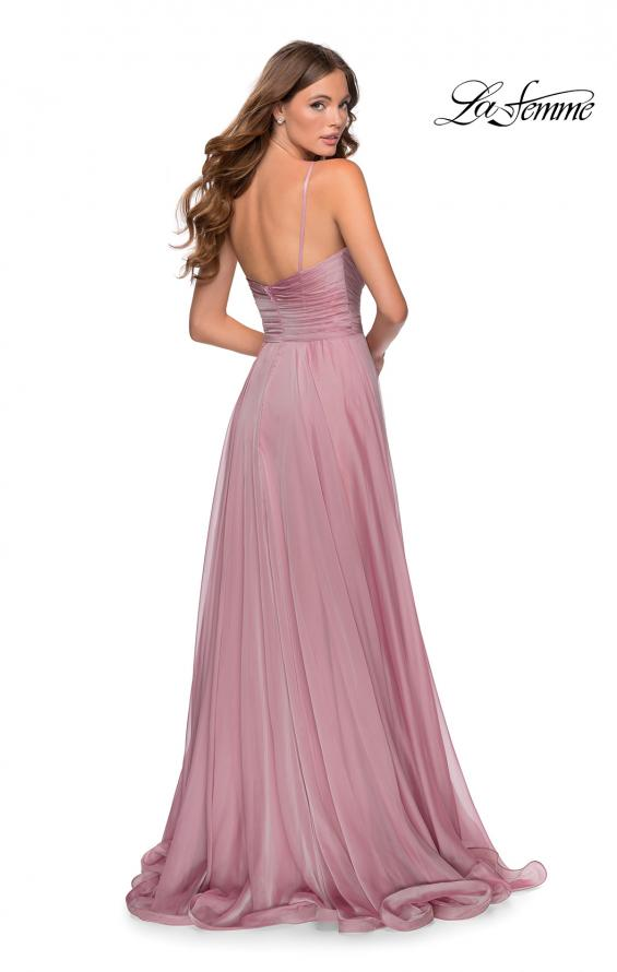 Picture of: Chiffon Prom Dress with Pleated Bodice and Pockets in Mauve, Style: 28611, Detail Picture 4