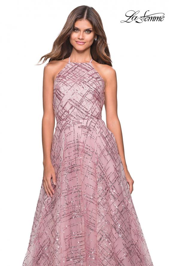 Picture of: High Neckline sequin A Line Prom Dress in Mauve, Style: 27451, Detail Picture 5