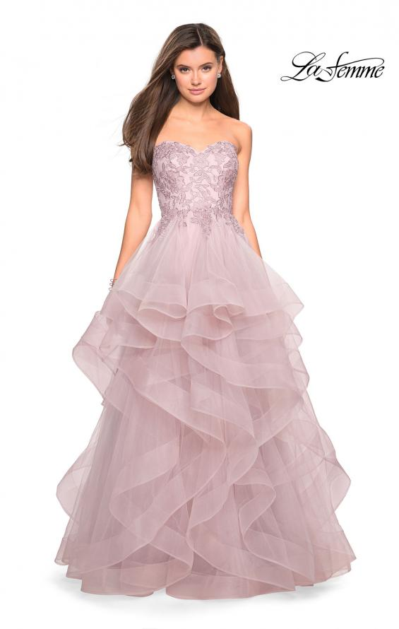 Picture of: Strapless Tulle Prom Gown with Lace Embellishments in Mauve, Style: 27620, Detail Picture 5