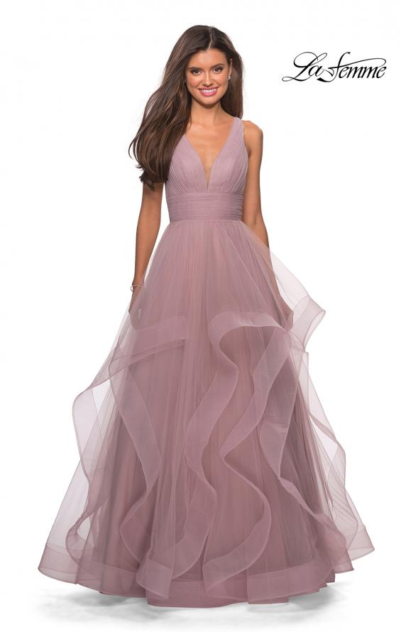 Picture of: Long Tulle Evening Gown with Plunging Neckline, Style: 27628, Detail Picture 5
