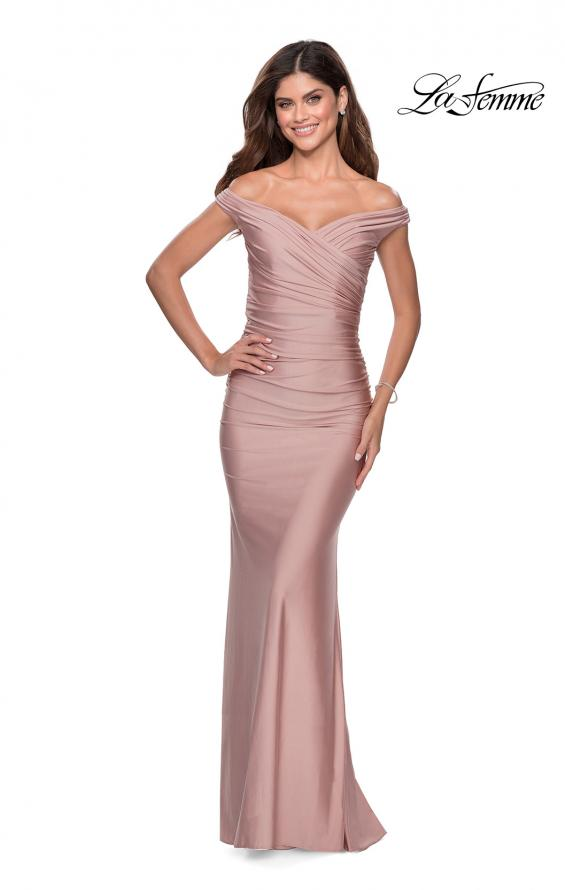 Picture of: Off the Shoulder Prom Dress with Sweetheart Neckline in Mauve, Style: 28450, Detail Picture 6
