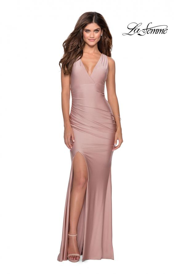 Picture of: Sleek Prom Dress with Deep V-Neckline and Tie Back in Mauve, Style: 28677, Detail Picture 6