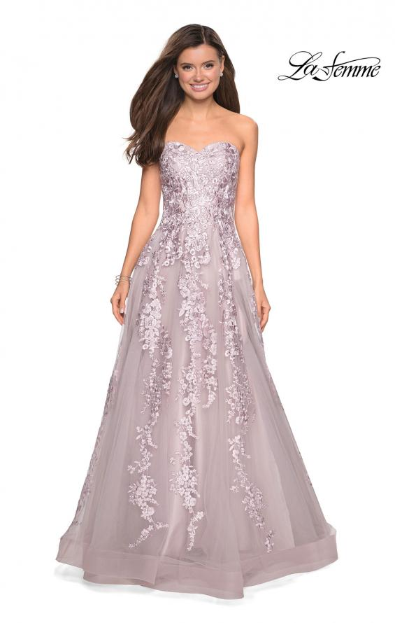 Picture of: Strapless Tulle Prom Dress with Lace Appliques, Style: 27269, Detail Picture 7