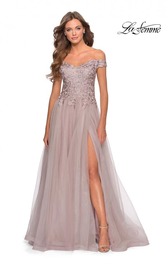 Picture of: Off the Shoulder Tulle Gown with Sheer Floral Bodice in Mauve, Style: 28598, Detail Picture 7
