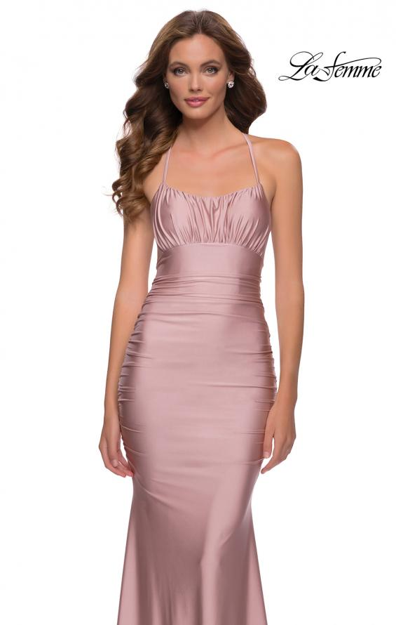 Picture of: On Trend Jersey Long Dress with Ruching on Bodice in Mauve, Style 29873, Detail Picture 7