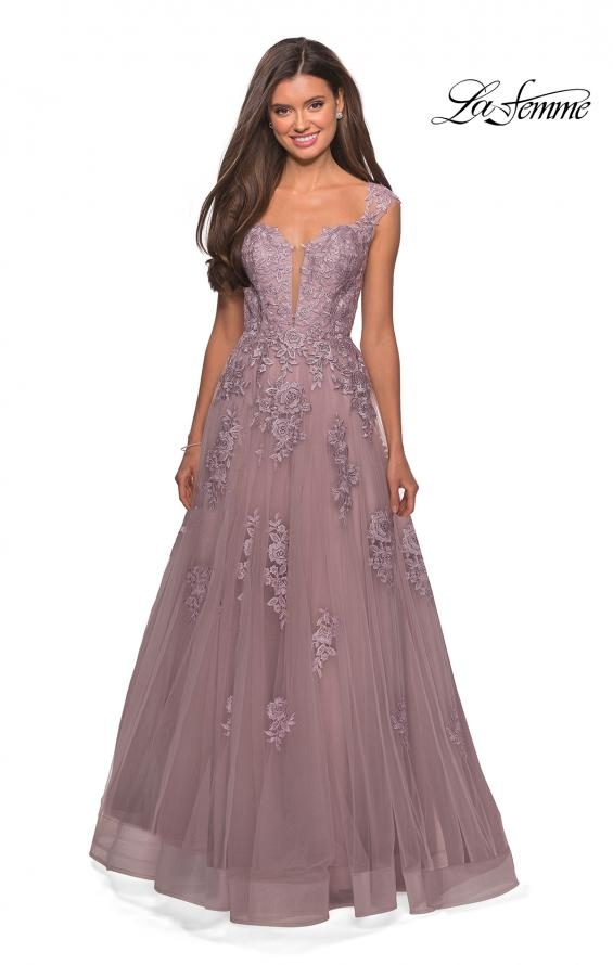 Picture of: Floor Length Cap Sleeve Prom Gown with Lace Detail in Mauve, Style: 27503, Detail Picture 4
