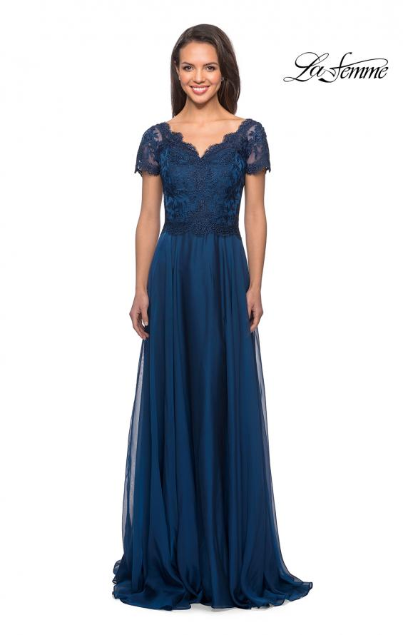 Picture of: Long Chiffon Dress with Lace Bodice and Pockets in Midnight Blue, Style: 27098, Detail Picture 4