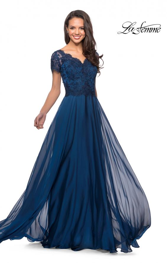 Picture of: Long Chiffon Dress with Lace Bodice and Pockets in Midnight Blue, Style: 27098, Detail Picture 6