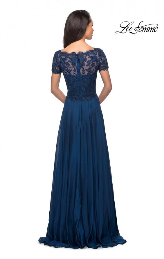 Picture of: Long Chiffon Dress with Lace Bodice and Pockets in Midnight Blue, Style: 27098, Detail Picture 7