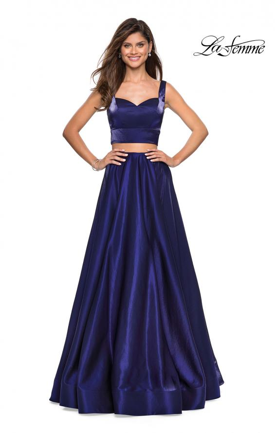 Picture of: Metallic Satin Two Piece Gown with Pockets in Midnight Blue, Style: 27444, Detail Picture 3