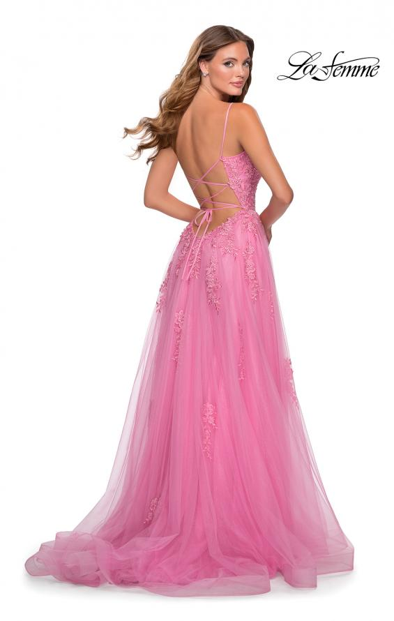 Picture of: A-line Tulle Gown with Floral Embroidery and Pockets in Millennial Pink, Style: 28470, Back Picture