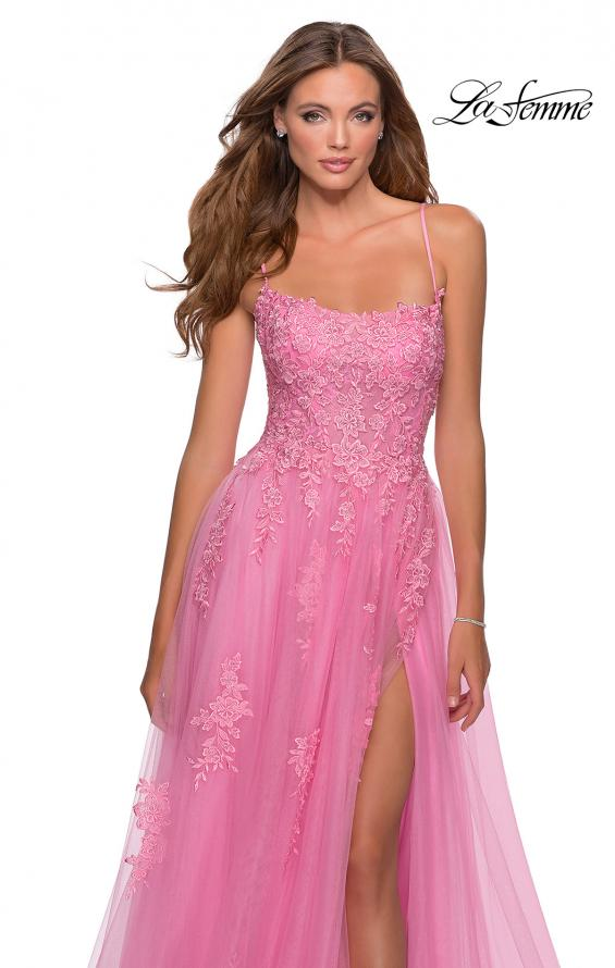 Picture of: A-line Tulle Gown with Floral Embroidery and Pockets in Millennial Pink, Style: 28470, Detail Picture 3