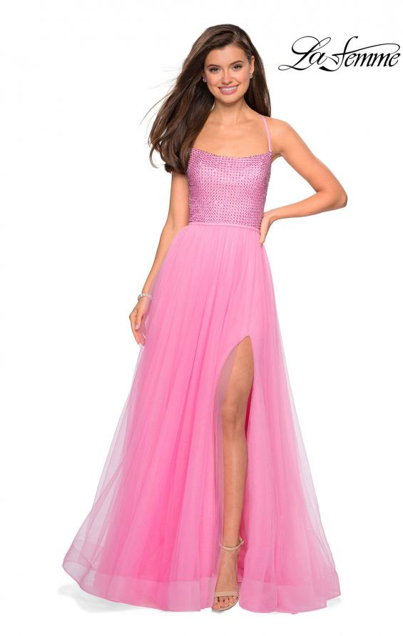 Picture of: Long A Line Tulle Prom Dress with Beading in Millennial Pink, Style: 27668, Detail Picture 1