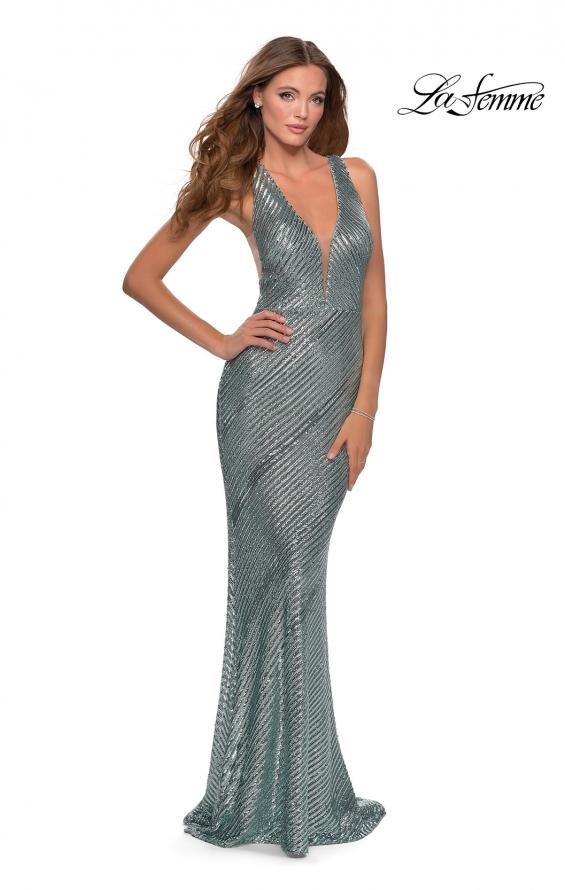 Picture of: Long Sequin Evening Gown with V Shaped Back in Mint, Style: 28570, Main Picture