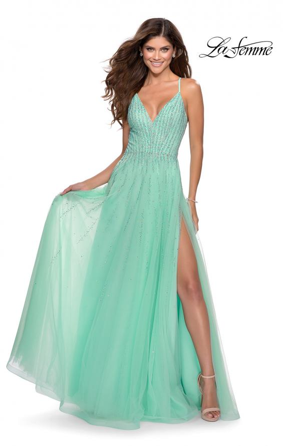 Picture of: Tulle Dress with Cascading Rhinestone Detail n Mint, Style: 28636, Main Picture