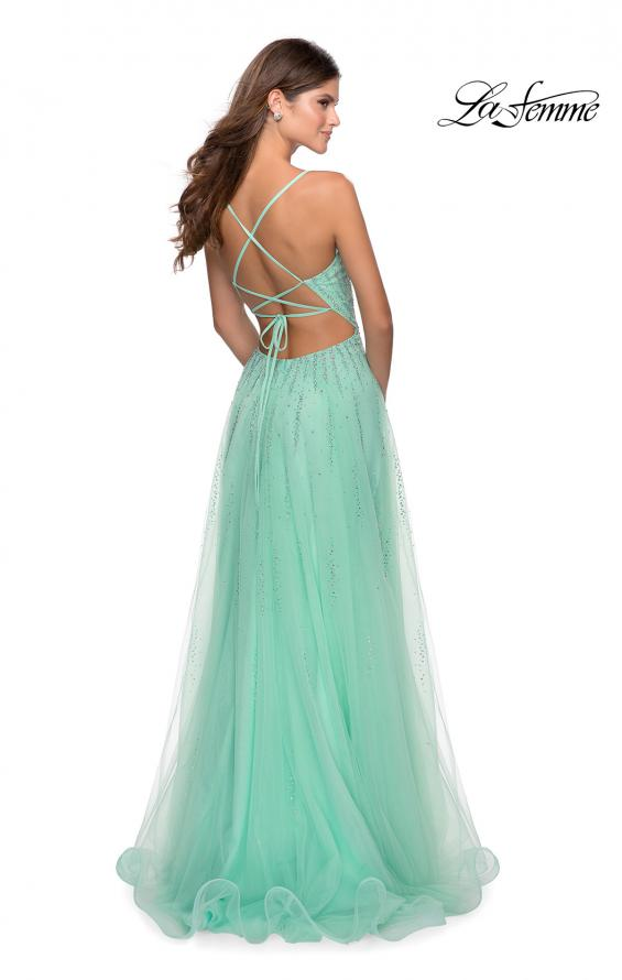 Picture of: Tulle Dress with Cascading Rhinestone Detail in Mint, Style: 28636, Back Picture