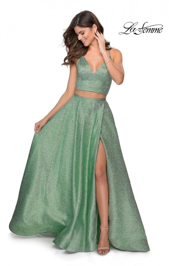 Picture of: Two Piece Shimmer Prom Dress with Pockets in Mint, Style: 28618, Detail Picture 1