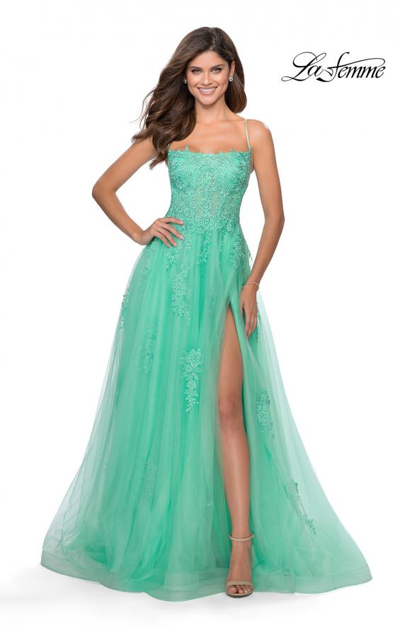 Picture of: A-line Tulle Gown with Floral Embroidery and Pockets in Mint, Style: 28470, Detail Picture 2