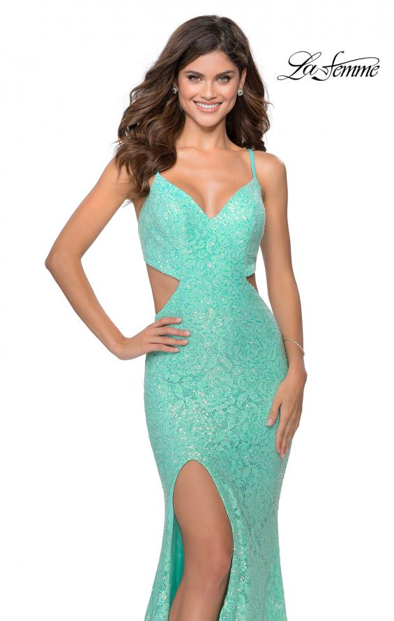 Picture of: Lace Stretch Sequin Dress with Side Cut Outs in Mint, Style: 28983, Detail Picture 2