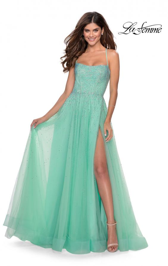 Picture of: A-line Tulle Dress with Beaded Bodice and Pockets in Mint, Style: 28583, Detail Picture 3