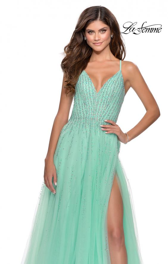 Picture of: Tulle Dress with Cascading Rhinestone Detail in Mint, Style: 28636, Detail Picture 3