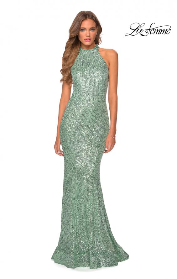 Picture of: Long Sequin Gown with High Neckline and Lace Back in Mint, Style: 28612, Detail Picture 4