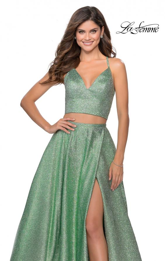 Picture of: Two Piece Shimmer Prom Dress with Pockets in Mint, Style: 28618, Detail Picture 4