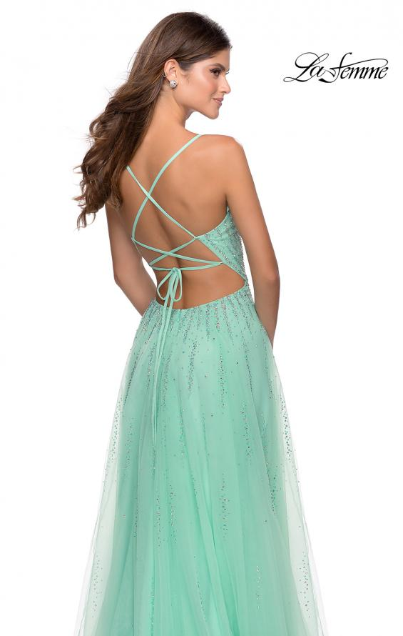 Picture of: Tulle Dress with Cascading Rhinestone Detail in Mint, Style: 28636, Detail Picture 4