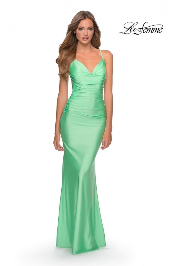 Picture of: Form Fitting Jersey Dress with Ruching and Strappy Back in Mint, Style: 27501, Detail Picture 5