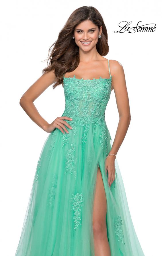 Picture of: A-line Tulle Gown with Floral Embroidery and Pockets in Mint, Style: 28470, Detail Picture 5