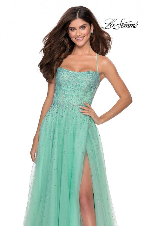 Picture of: A-line Tulle Dress with Beaded Bodice and Pockets in Mint, Style: 28583, Detail Picture 7