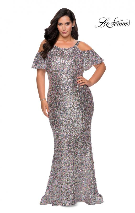 Picture of: Cold Shoulder Sequin Plus Size Dress with Ruffle Sleeves in Multi, Style: 28947