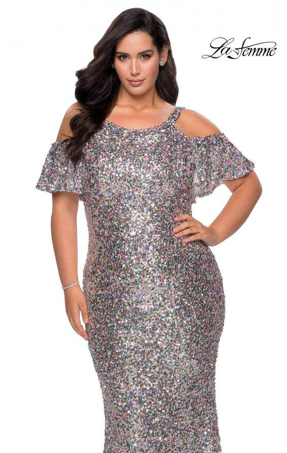 Picture of: Cold Shoulder Sequin Plus Size Dress with Ruffle Sleeves in SIlver, Style: 28947, Detail Picture 1