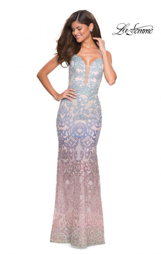 Picture of: Floor Length Fully Beaded Rainbow Ombre Prom Gown in Multi, Style: 27609, Main Picture