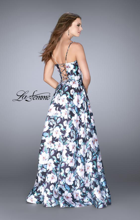Picture of: Long Flower Print Mikado A-line Prom Dress, Style: 24717, Back Picture