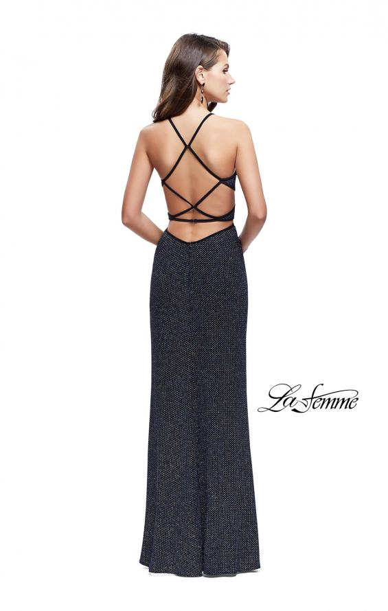 Picture of: Long Glittering Jersey Dress with Side Cut Outs and Open Back in Multi, Style: 25619, Back Picture