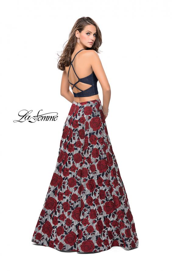 Picture of: Two Piece Denim A-line Dress with Floral Print Skirt in Multi, Style: 25789, Back Picture