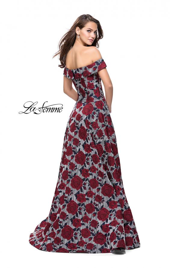 Picture of: Off the Shoulder A-line Gown with Floral Print in Multi, Style: 25790, Back Picture