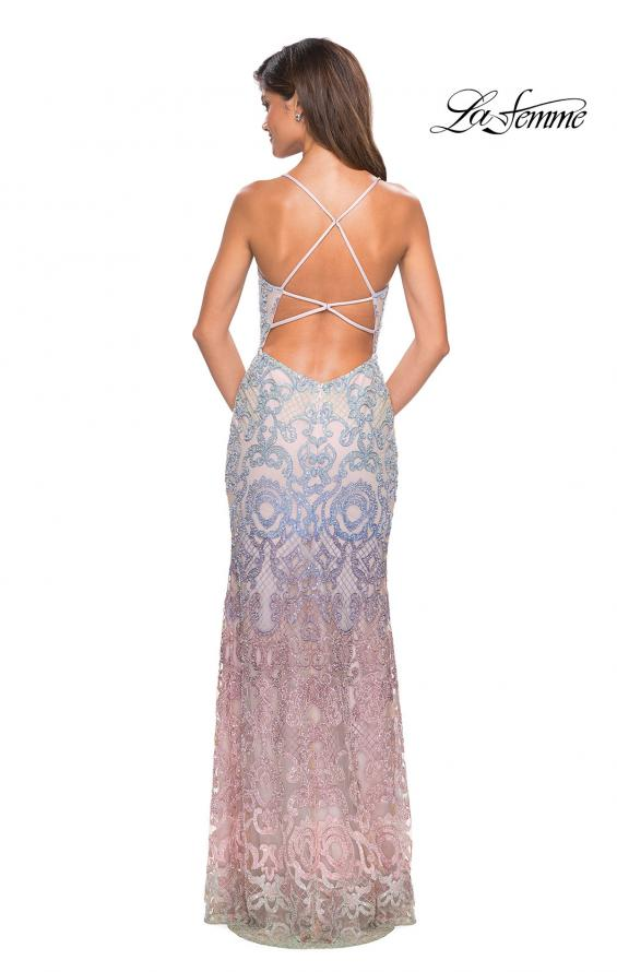 Picture of: Floor Length Fully Beaded Rainbow Ombre Prom Gown in Multi, Style: 27609, Back Picture