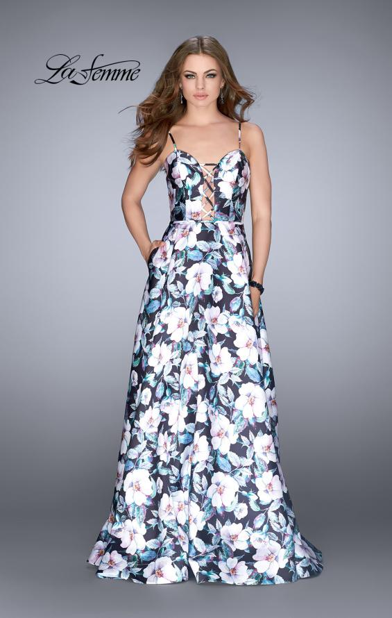 Picture of: Long Flower Print Mikado A-line Prom Dress, Style: 24717, Detail Picture 1