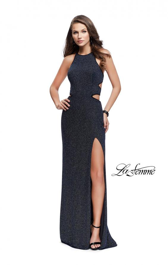 Picture of: Long Glittering Jersey Dress with Side Cut Outs and Open Back in Multi, Style: 25619, Detail Picture 2